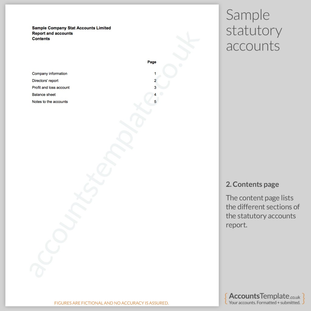 Sample contents page from Statutory Accounts